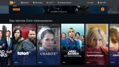 Startseite der ZDF-Mediathek mit ARD-Inhalten