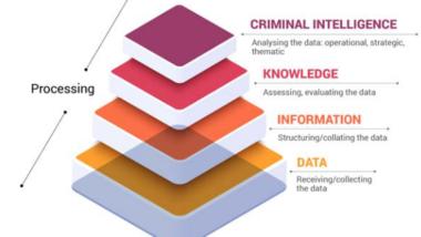 Die Grafik zeigt ein vierstufiges Modell zur Datenverarbeitung.
