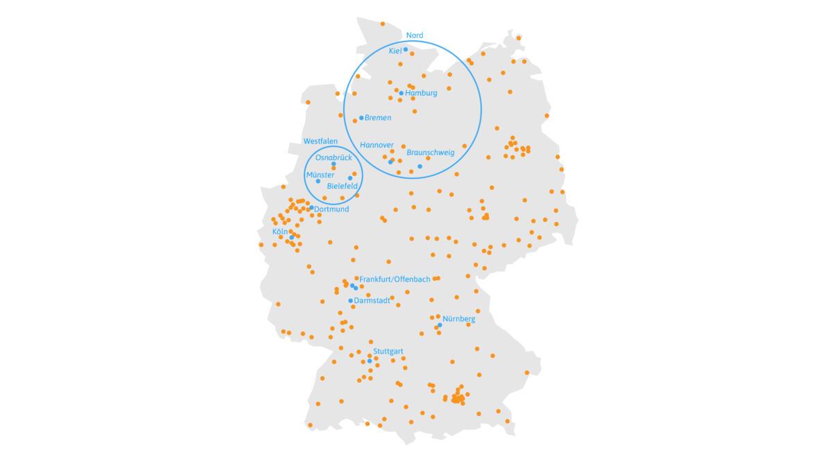 Deutschlandkarte mit Orten, an denen es Lieferando-Service und an denen es Betriebsräte gibt.