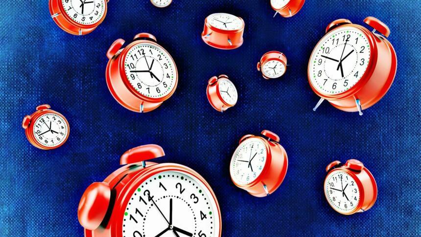 Eine Illustration mit vielen roten Weckern auf blauem Hintergrund