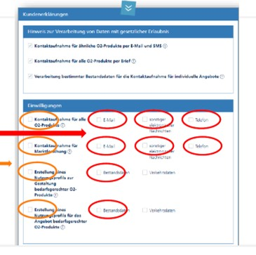 Kontaktaufnahme und Profilerstellung: o2 will diverse Einwilligungen