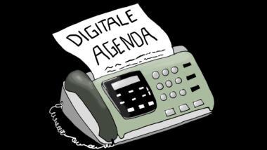 """Ein Faxgerät druckt ein Papier mit dem Titel """"Digitale Agenda""""."""