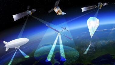 Die Abbildung zeigt Ballons, Zeppeline und Segler in der Stratosphäre.