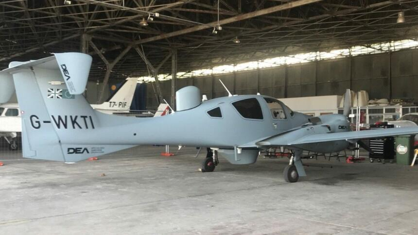 """Die """"Osprey 3"""" der britischen Firma DEA, die auch zukünftig Flüge für Frontex durchführt."""