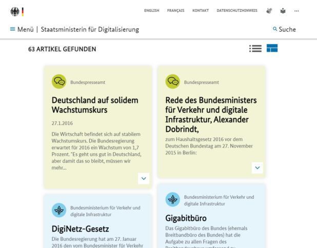 """Screenshot der Suchergebnisse in der Suchmaschine der Bundesregierung mit dem Schlagwort """"Breitbandausbau""""."""