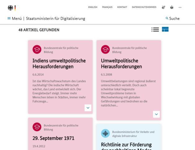 """Screenshot der Suchergebnisse in der Suchmaschine der Bundesregierung mit den Schlagworten """"Umweltpolitische Digitalagenda""""."""