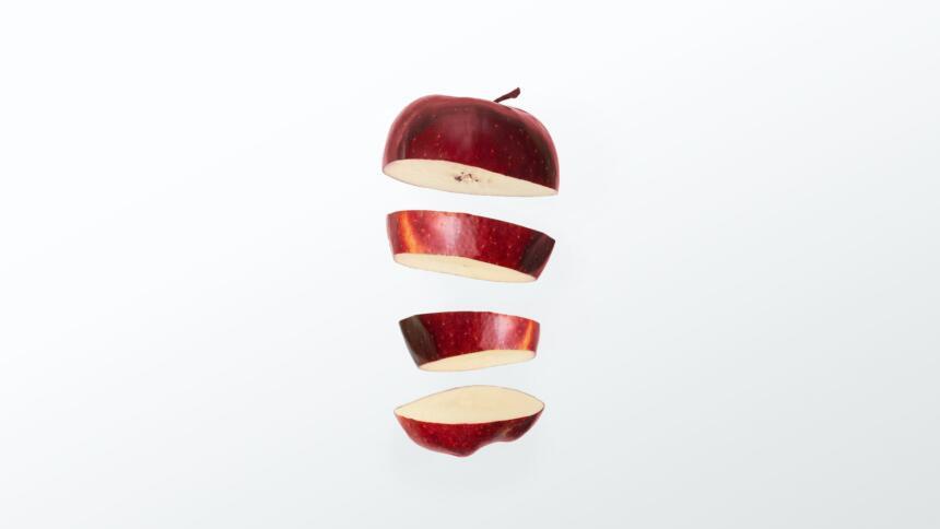 Apfel durchgeschnitten