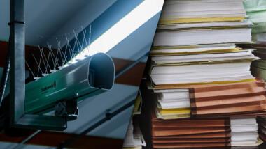 Überwachungskamera und Akten