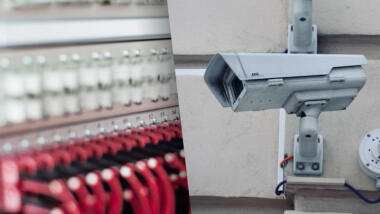 Glasfaserkabel mit Überwachungskamera