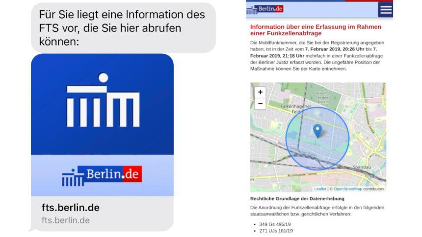 Benachrichtigung: SMS und Webseite