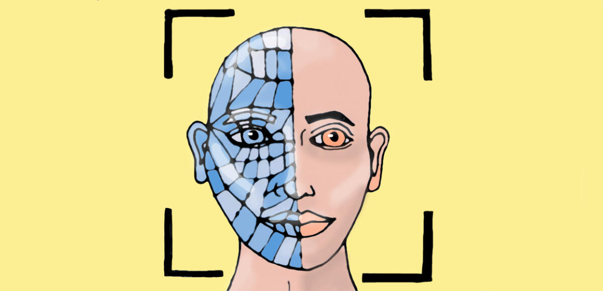 Ein gezeichneter Kopf, halb Mensch, halb Polygon-Netz
