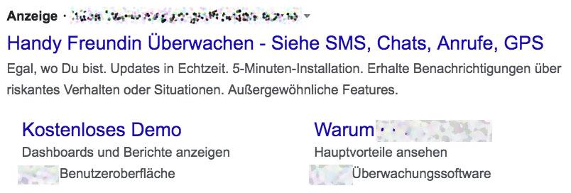 Screenshot Anzeige für Spähsoftware auf Google