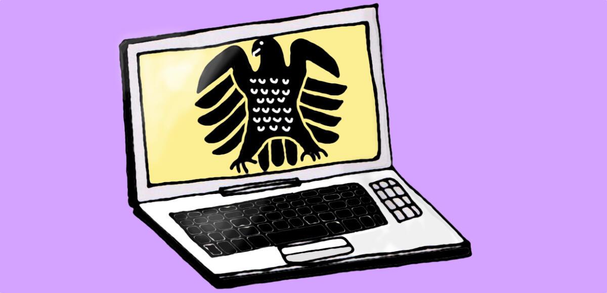 Ein gezeichneter Laptop mit Bundestagsadler auf dem Bildschirm