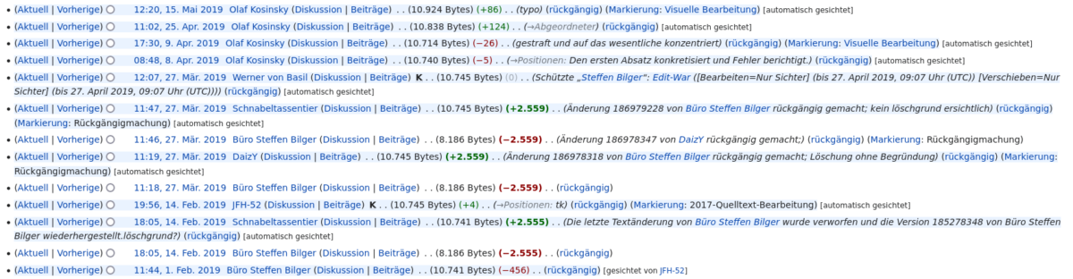 Der Edit War um Steffen Bilgers Artikel.