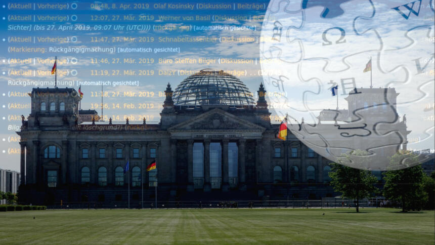 Fotomontage aus Bundestag, Wikipedia-Logo und Edit-Historie