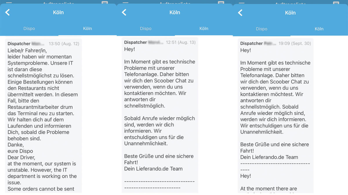 Screenshot aus der Scoober-App für Lieferando-Fahrer