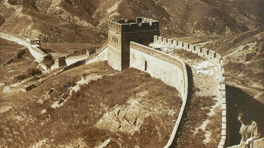 Alte Sepia-farbene Aufnahme der chinesischen Mauer