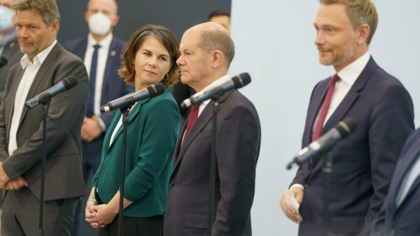 Pressekonferenz Habeck, Baerbock, Scholz und Lindner