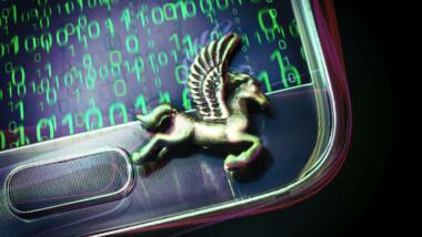 Pegasusfigur auf Smartphone