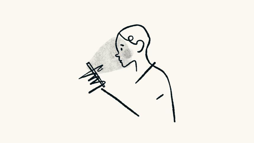 Illustration Mensch mit Handy