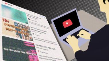 Eine Person hat die Hände auf der Tastatur eines Laptops. Ein Screenshot mit YouTube-Videos.