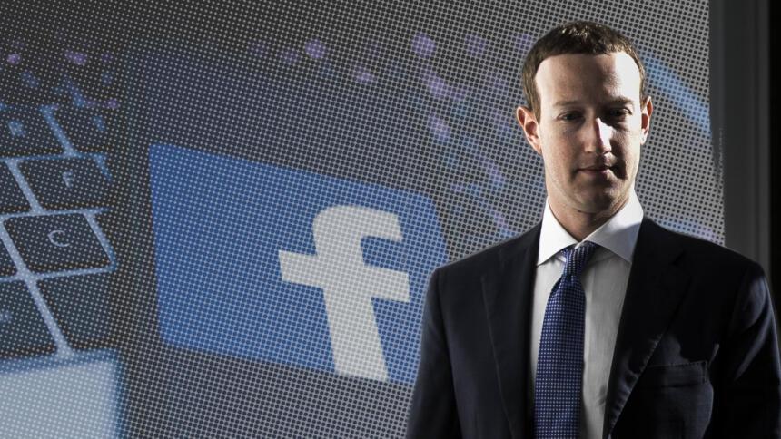 Facebook-Chef Mark Zuckerberg, im Hintergrund ein Smartphone mit dem Facebook-Logo