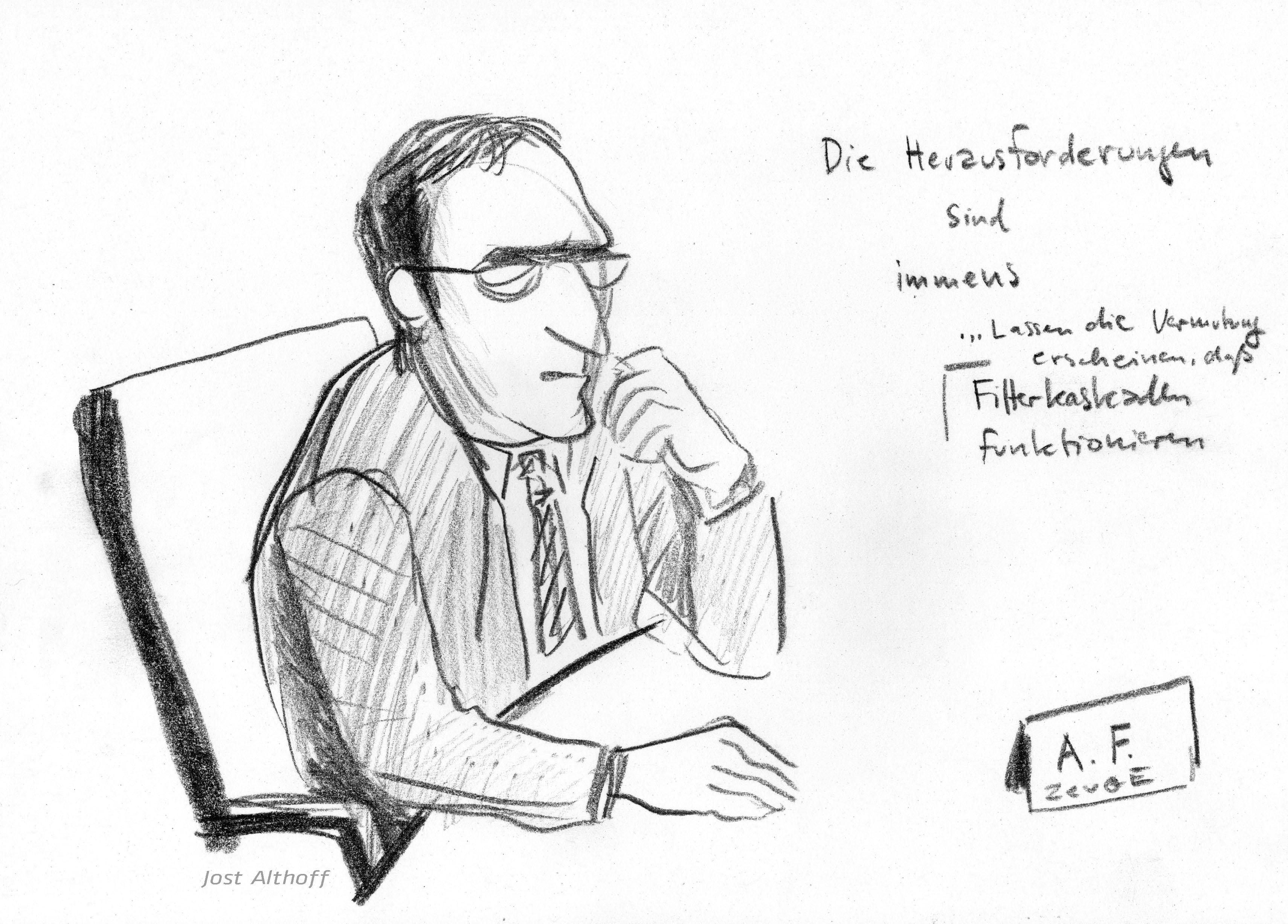 """Zeuge """"A. F."""" bei seiner Aussage. Zeichnung: Jost Althoff."""