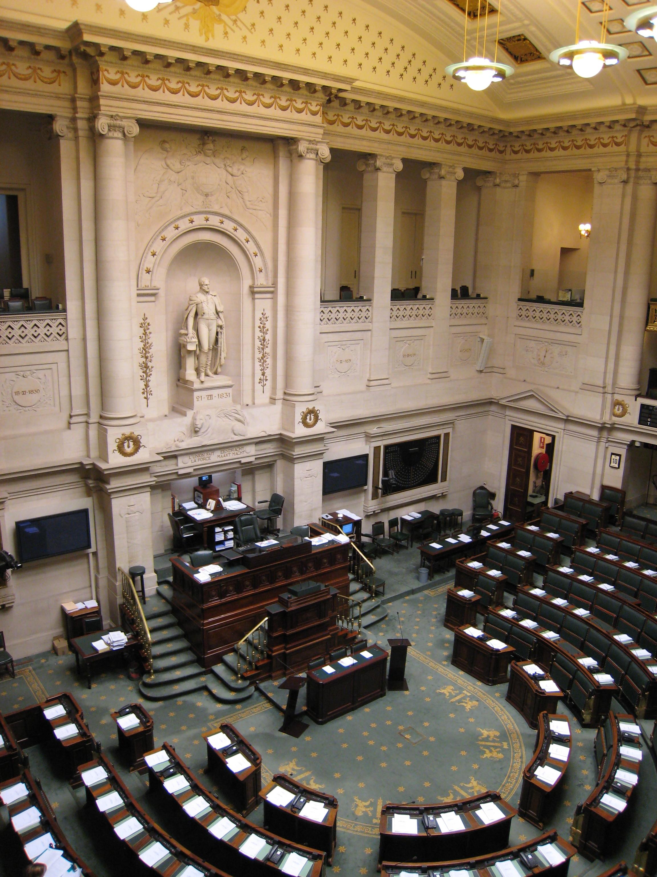 Innenansicht der Abgeordnetenkammer Belgiens. Bild: François Lambregts. Lizenz: Creative Commons BY-SA 2.0.