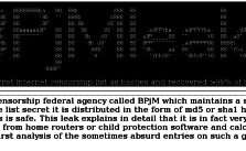"Screenshot of the website ""BPJM-Leak"" with a description of the hack and the extracted list of URLs."