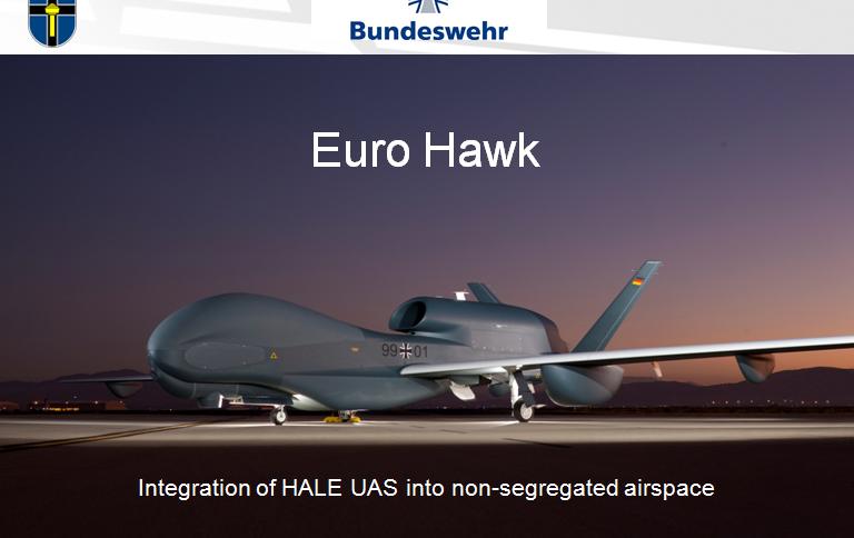 """Sollte eigentlich als Prototyp die Beschaffung weiterer vier Drohnen einleiten: Der gegroundete """"Euro Hawk"""""""