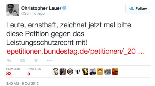"""Christopher Lauer on Twitter: """"Leute, ernsthaft, zeichnet jetzt mal bitte diese Petition gegen das Leistungsschutzrecht mit! https:::t.co:F1Ne2q3z"""" 2015-05-02 09-28-13"""