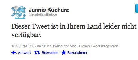 """Tweet: """"Dieser Tweet ist in Ihrem Land nicht verfügbar"""""""