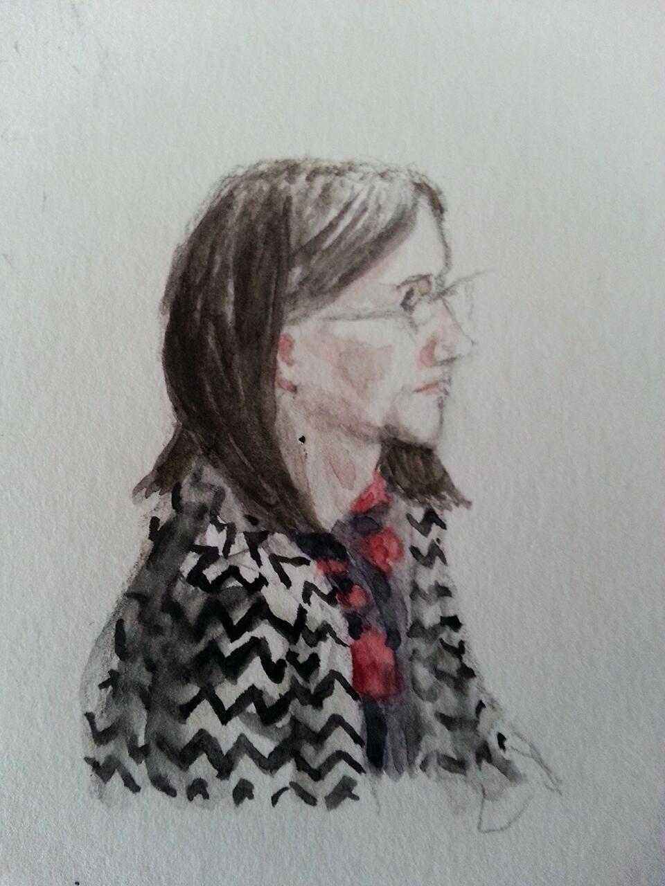 Gabriele Löwnau vor dem NSAUA. Zeichnung: Stella Schiffczyk