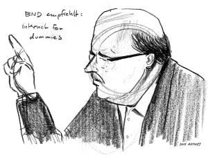 Zeuge Harald Fechner bei seiner Aussage. Zeichnung: Jost Althoff.