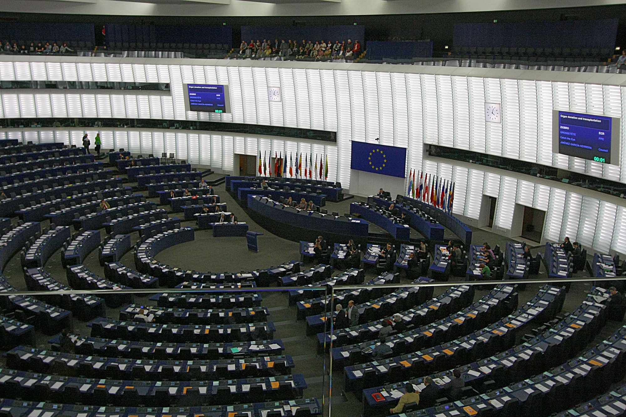 Plenarsaal des EU-Parlamentes in Straßburg. CC BY 2.0, via Wikimedia/jeffowenphotos