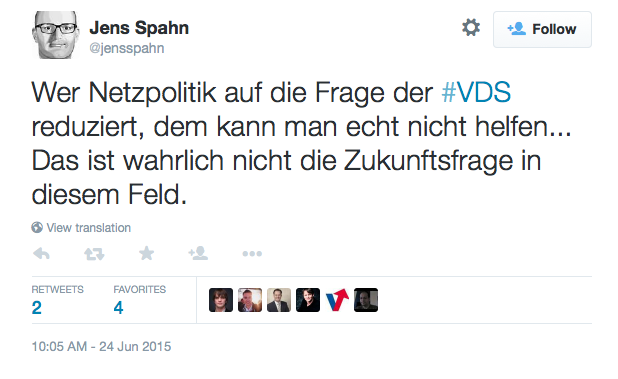 """Jens Spahn on Twitter: """"Wer Netzpolitik auf die Frage der #VDS reduziert, dem kann man echt nicht helfen... Das ist wahrlich nicht die Zukunftsfrage in diesem Feld."""" 2015-06-25 08-36-45"""