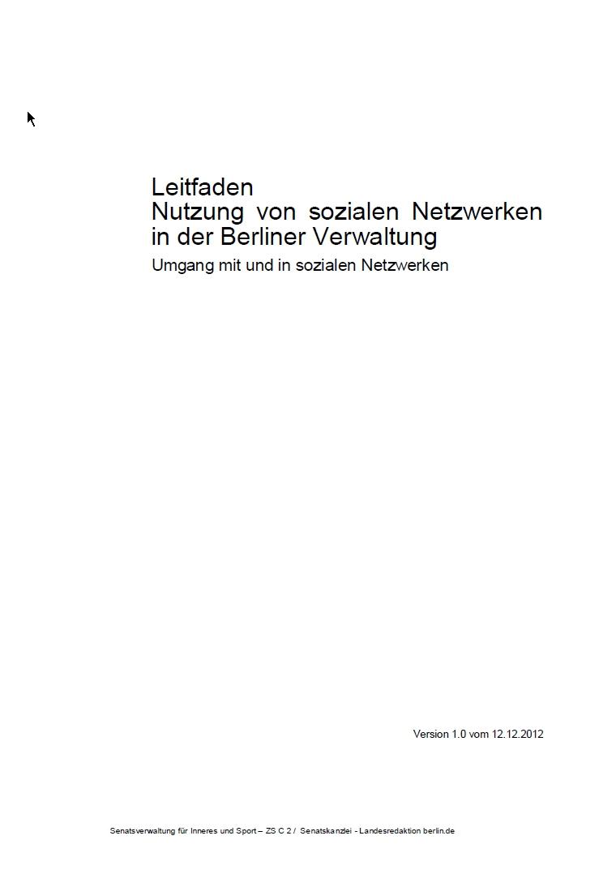 """Leitfaden """"Nutzung von Sozialen Netzwerken in der Berliner Verwaltung"""""""