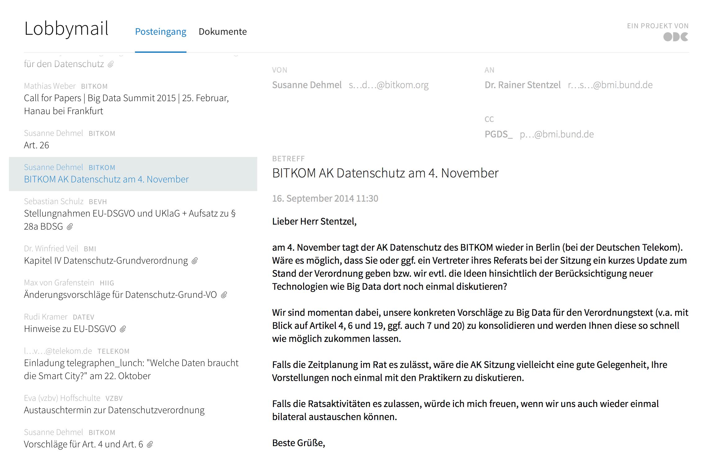 """Eine Bitkom-Vertreterin hätte gerne ein Update über den Stand der Verhandlungen – und möchte die Vorstellungen von Ministeriumsbeamten mit """"Praktikern"""" diskutieren. Screenshot: OpenDataCity"""