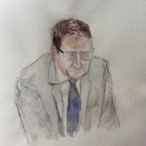 """Zeuge """"D. B."""" bei seiner Anhörung. Zeichnung: Stella Schiffczyk."""