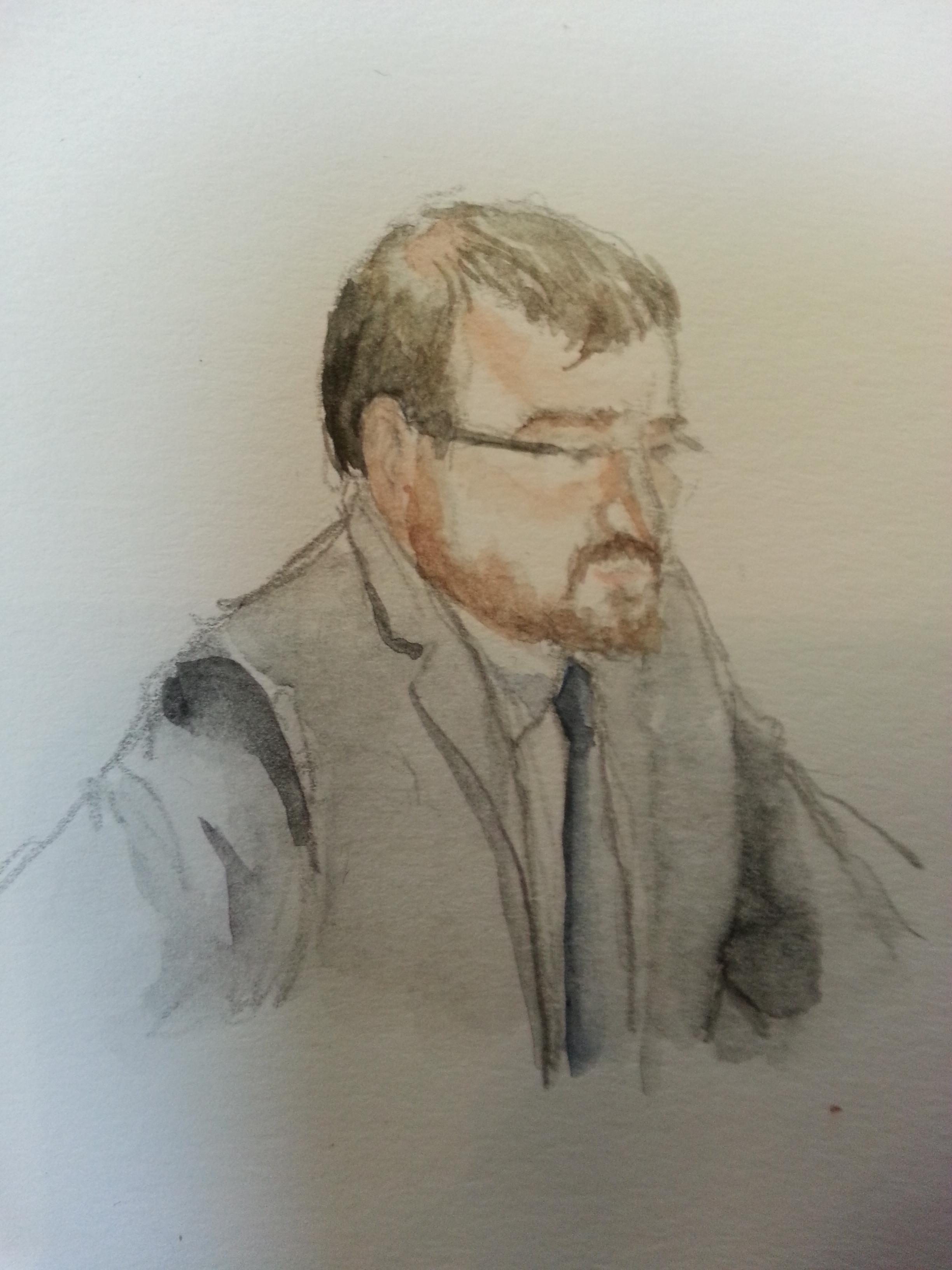 Zeuge Guido Müller bei seiner Anhörung. Zeichnung: Stella Schiffczyk.