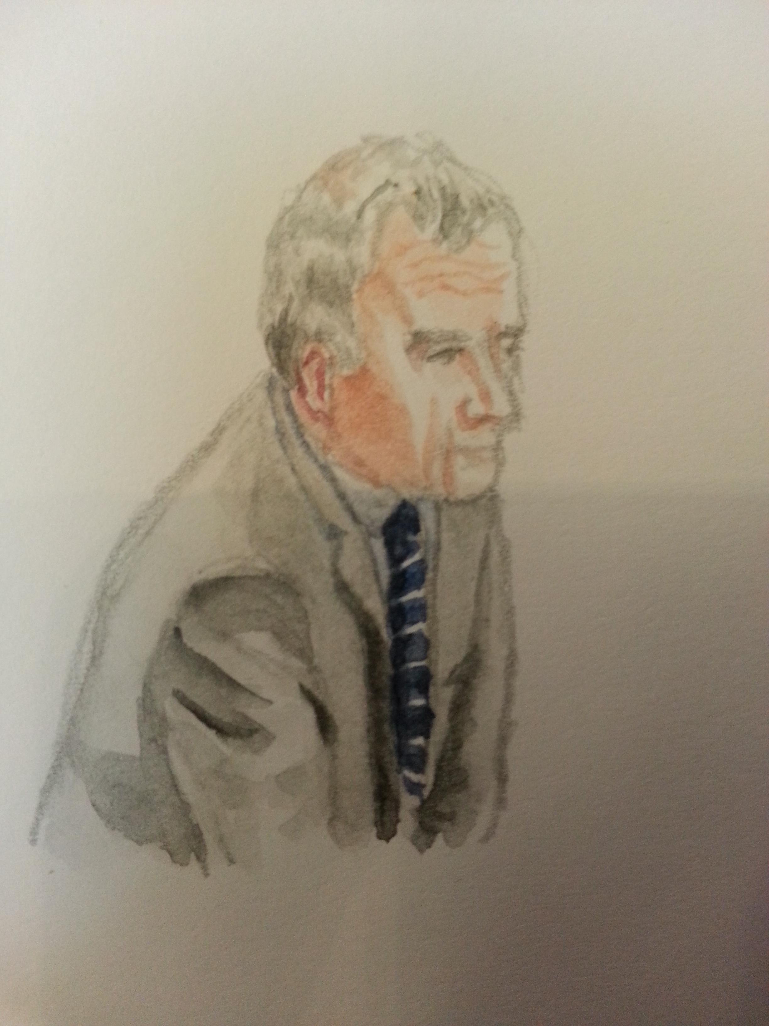 Zeuge Hans Josef Vorbeck bei seiner Anhörung. Zeichnung: Stella Schiffczyk.