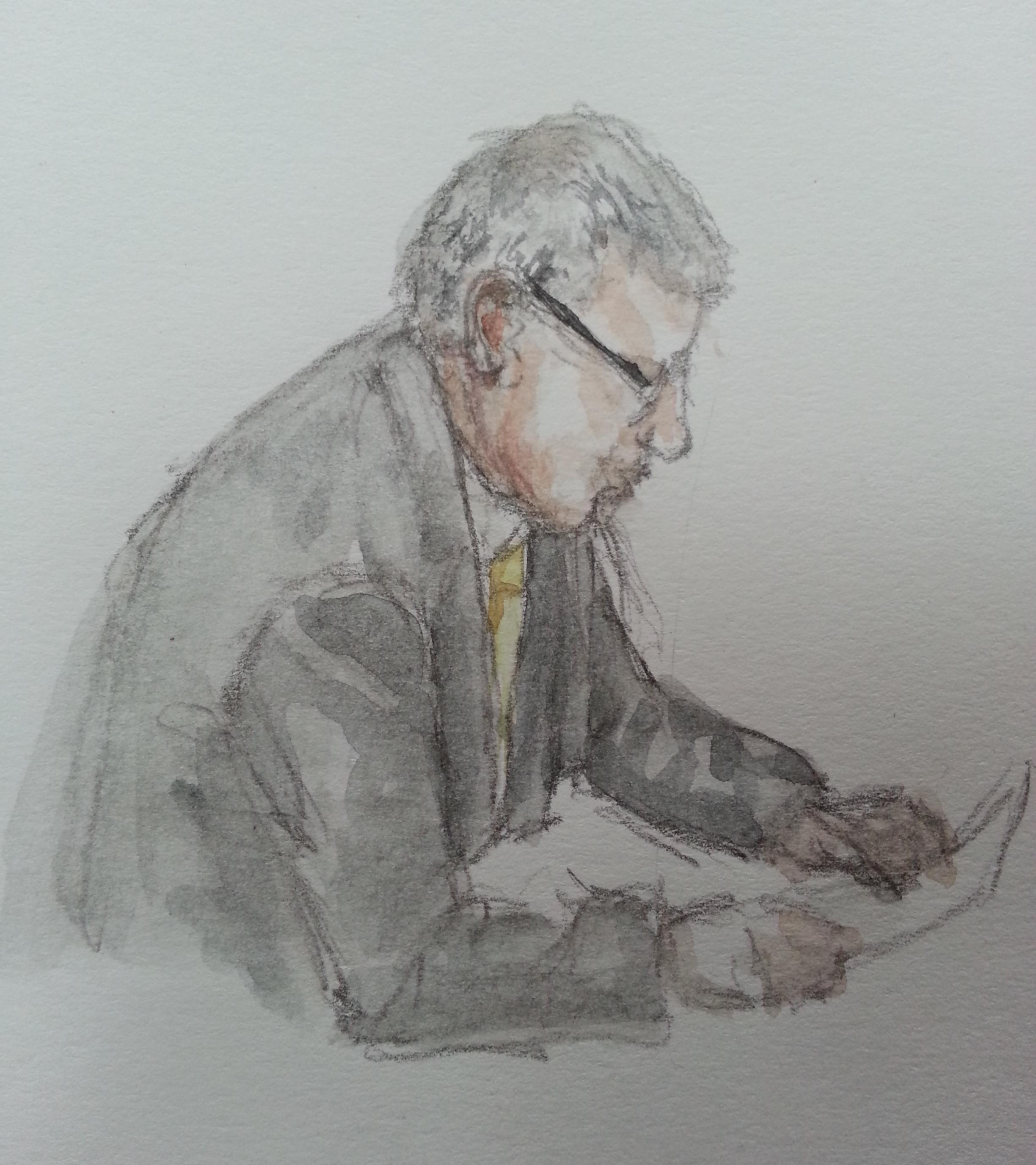 BND-Abteilungsleiter Hartmut Pauland bei seiner Aussage. Zeichung: Stella Schiffczyk.