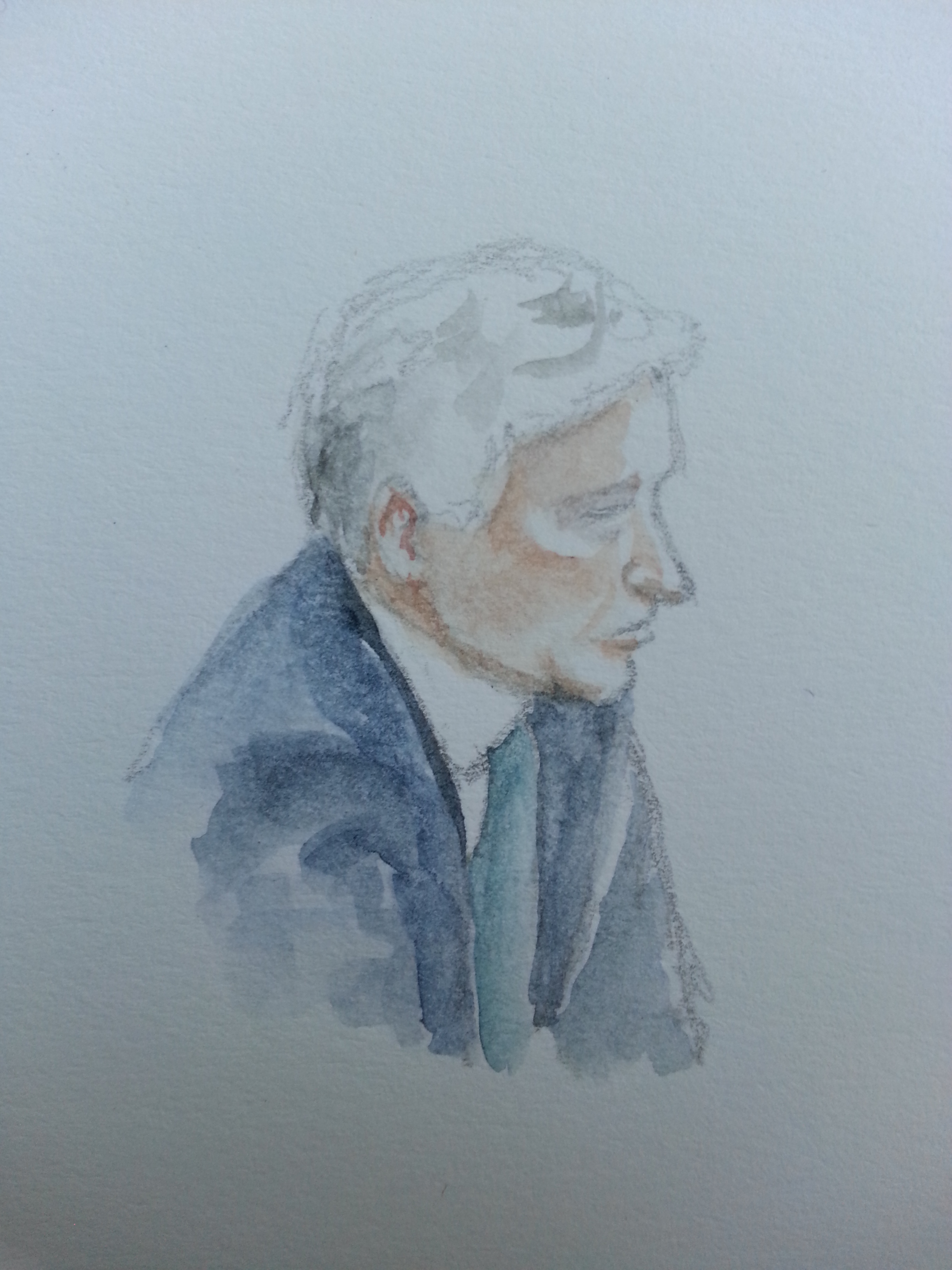 Thomas Kurz bei seiner Anhörung. Zeichnung: Stella Schiffczyk.