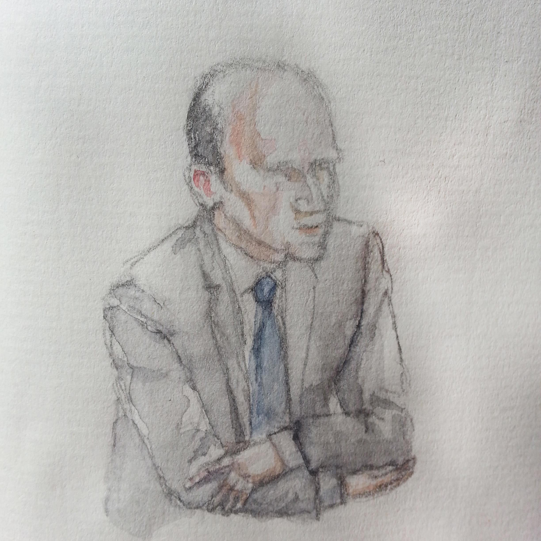 """Zeuge """"W. K."""" bei seiner Anhörung. Zeichnung: Stella Schiffczyk."""