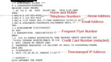 Auszug aus einem PNR-Datensatz (Bild: Edward Hasbrouck).