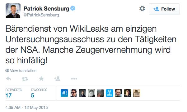 """Patrick Sensburg on Twitter: """"Bärendienst von WikiLeaks am einzigen Untersuchungsausschuss zu den Tätigkeiten der NSA. Manche Zeugenvernehmung wird so hinfällig!"""" 2015-05-12 23-03-14"""