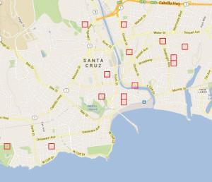 """Mit dieser Karte sollen Polizeien und Nachbarschaftsgruppen in Santa Cruz heute """"Verbrecher"""" fangen"""