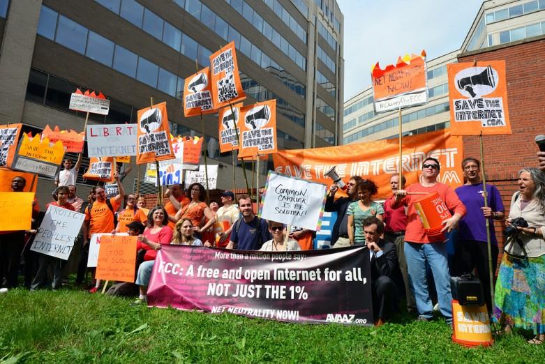 Demonstration vor der FCC am Donnerstag.