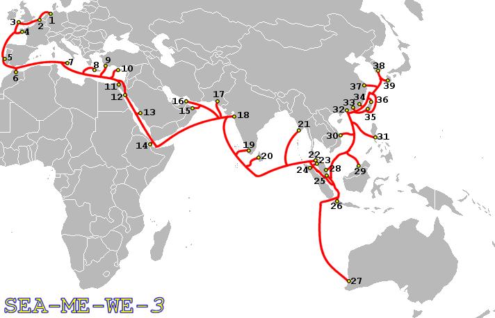 Lage und Landepunkte des SEA-ME-WE-3-Seekabels. Bild: J.P.Lon. Lizenz: Creative Commons BY 2.5.