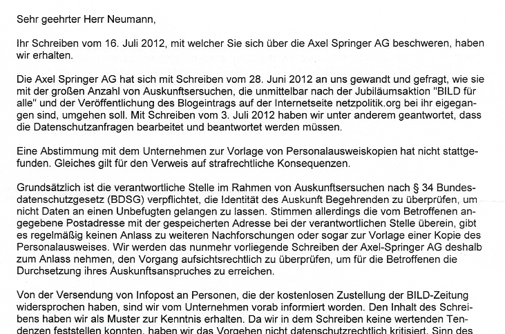 Etappensieg: Email-Drohung des Springer-Verlags wird ...